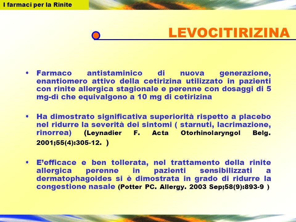 I farmaci per la Rinite LEVOCITIRIZINA Farmaco antistaminico di nuova generazione, enantiomero attivo della cetirizina utilizzato in pazienti con rini