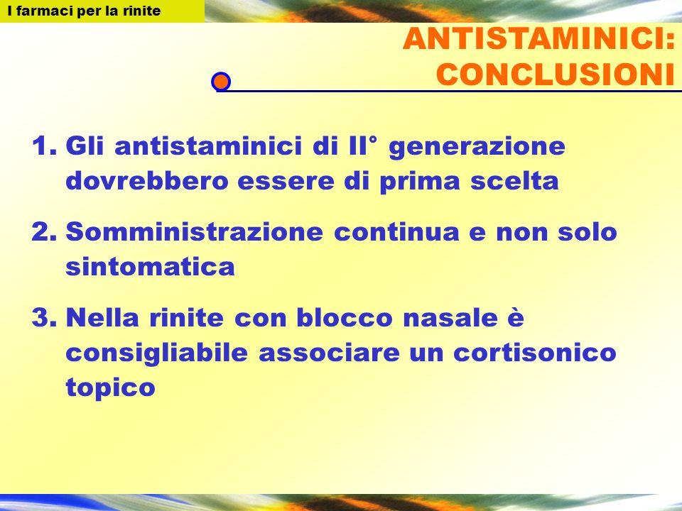 I farmaci per la Rinite 1.Gli antistaminici di II° generazione dovrebbero essere di prima scelta 2.Somministrazione continua e non solo sintomatica 3.