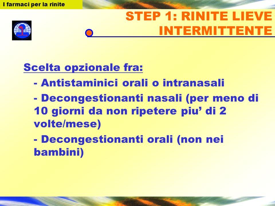 I farmaci per la Rinite STEP 1: RINITE LIEVE INTERMITTENTE Scelta opzionale fra: - Antistaminici orali o intranasali - Decongestionanti nasali (per me