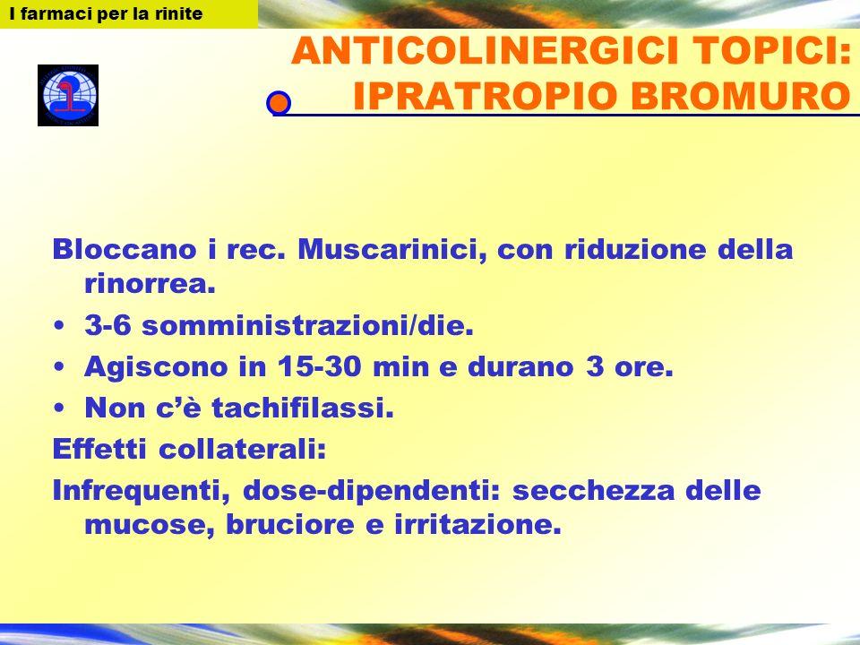 I farmaci per la Rinite ANTICOLINERGICI TOPICI: IPRATROPIO BROMURO Bloccano i rec. Muscarinici, con riduzione della rinorrea. 3-6 somministrazioni/die