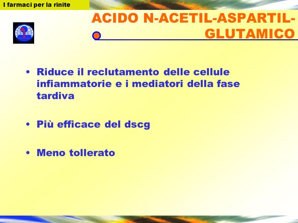 I farmaci per la Rinite ACIDO N-ACETIL-ASPARTIL- GLUTAMICO Riduce il reclutamento delle cellule infiammatorie e i mediatori della fase tardiva Più eff