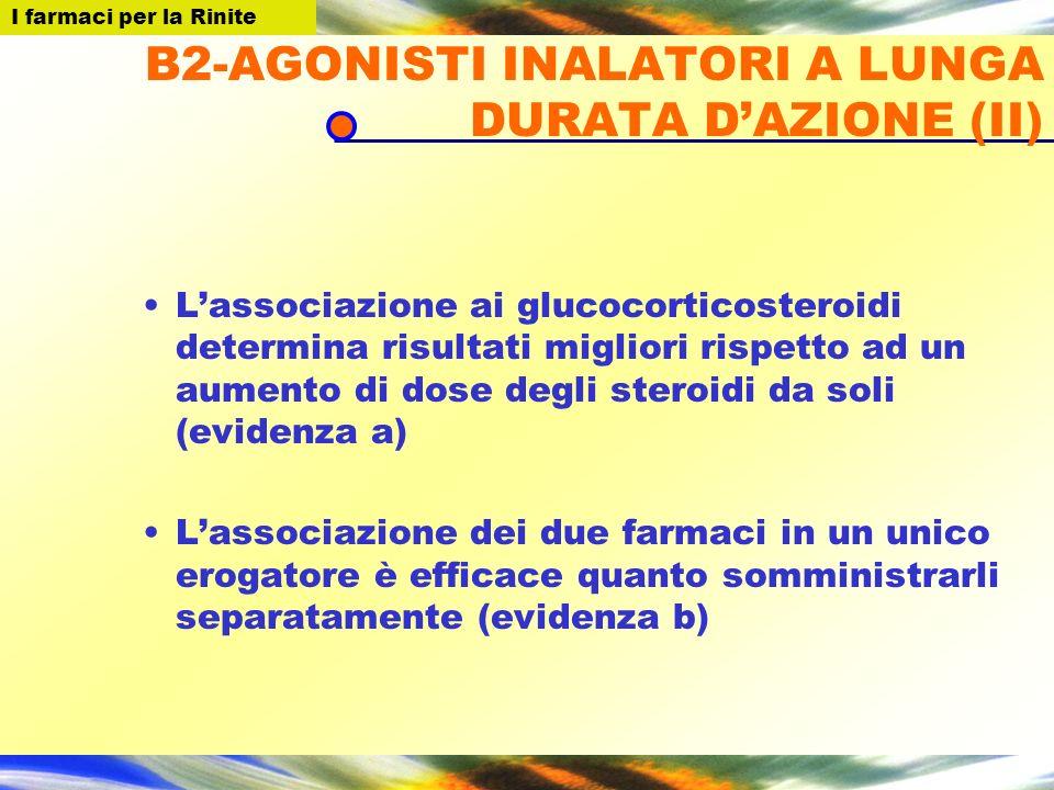I farmaci per la Rinite B2-AGONISTI INALATORI A LUNGA DURATA DAZIONE (II) Lassociazione ai glucocorticosteroidi determina risultati migliori rispetto