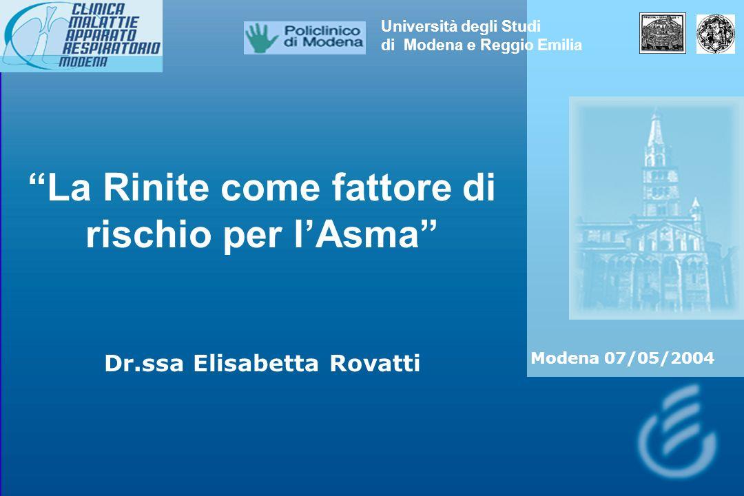 La Rinite come fattore di rischio per lAsma Dr.ssa Elisabetta Rovatti Università degli Studi di Modena e Reggio Emilia Modena 07/05/2004