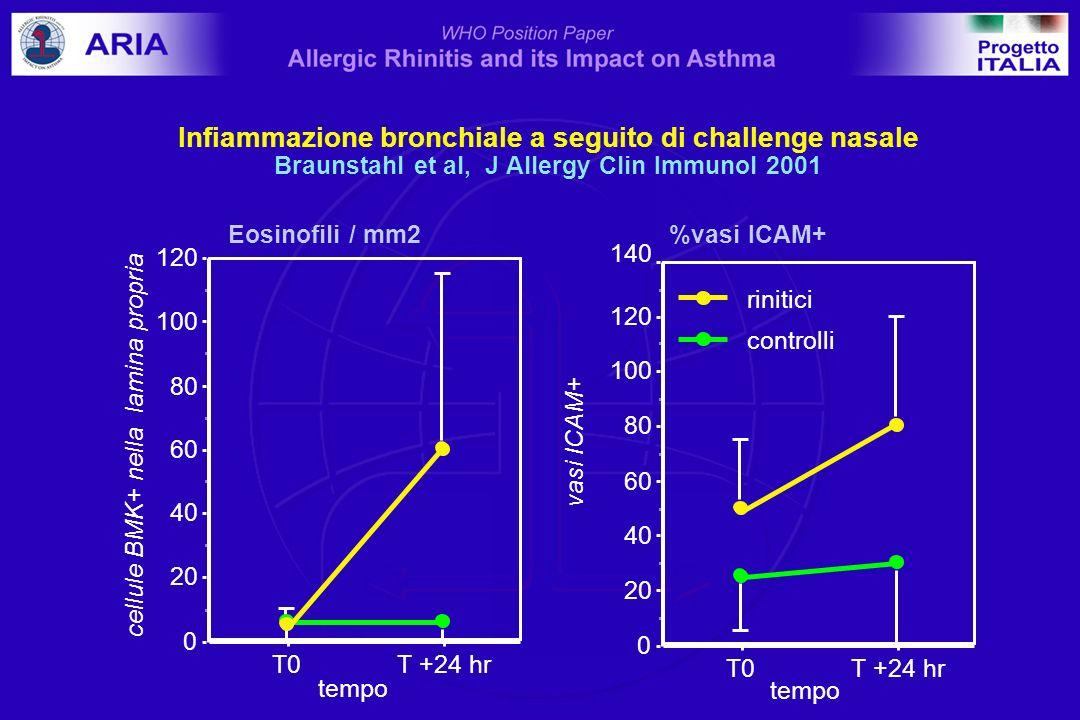 Eosinofili / mm2 %vasi ICAM+ 0 20 40 60 80 100 120 T0T +24 hr tempo 140 0 20 40 60 80 100 120 vasi ICAM+ T0T +24 hr tempo controlli rinitici cellule B