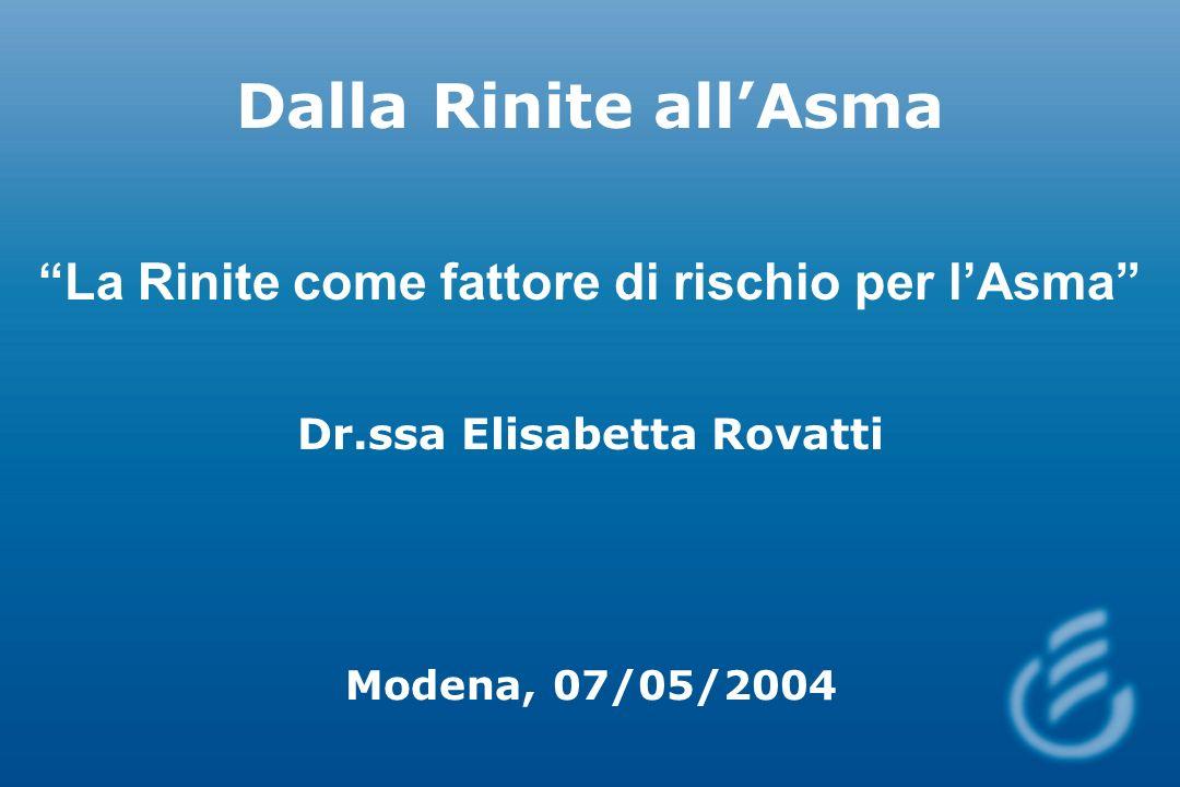 Dalla Rinite allAsma La Rinite come fattore di rischio per lAsma Dr.ssa Elisabetta Rovatti Modena, 07/05/2004