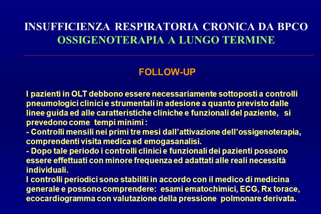 INSUFFICIENZA RESPIRATORIA CRONICA DA BPCO OSSIGENOTERAPIA A LUNGO TERMINE FOLLOW-UP I pazienti in OLT debbono essere necessariamente sottoposti a con