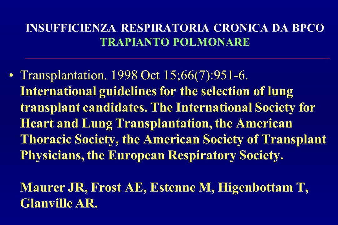INSUFFICIENZA RESPIRATORIA CRONICA DA BPCO TRAPIANTO POLMONARE Transplantation. 1998 Oct 15;66(7):951-6. International guidelines for the selection of