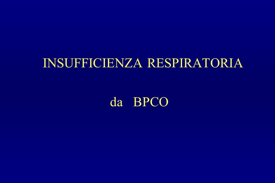 INSUFFICIENZA RESPIRATORIA CRONICA DA BPCO OSSIGENOTERAPIA A LUNGO TERMINE Modalità di somministrazione In pazienti con ipossiemia continua tempi più vicini possibili alle 24 ore/die, flusso sufficiente per raggiungere una PaO2 di 65 – 80 mmHg (SaO2 > 92%), senza indurre pericolosi incrementi della PaCO2 In pazienti con desaturazione notturna O2 terapia solo notturna con SaO2 > 90% In pazienti con desaturazione sotto sforzo O2 terapia solo durante lo sforzo