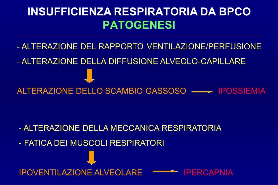 INSUFFICIENZA RESPIRATORIA DA BPCO PATOGENESI - ALTERAZIONE DEL RAPPORTO VENTILAZIONE/PERFUSIONE - ALTERAZIONE DELLA DIFFUSIONE ALVEOLO-CAPILLARE ALTE