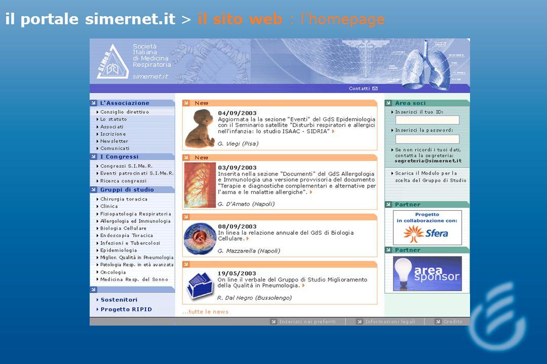 il portale simernet.it > il sito web : lhomepage