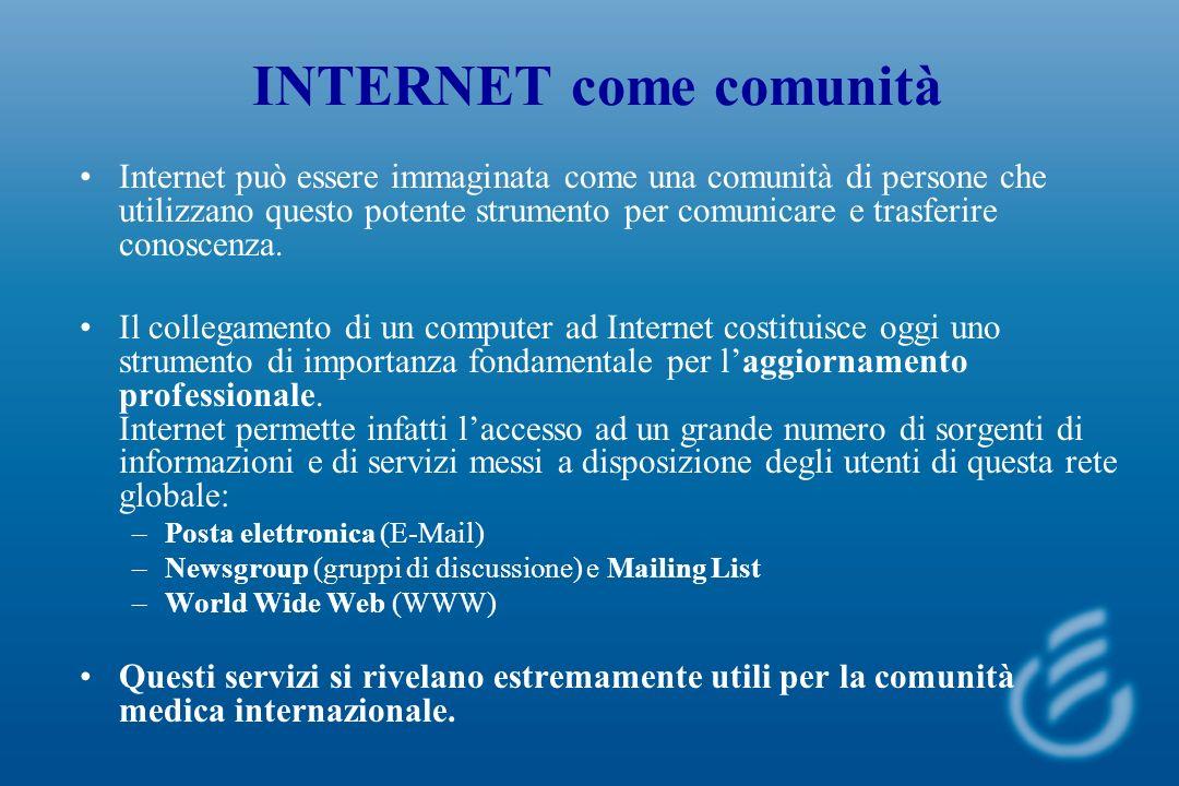 INTERNET come comunità Internet può essere immaginata come una comunità di persone che utilizzano questo potente strumento per comunicare e trasferire conoscenza.