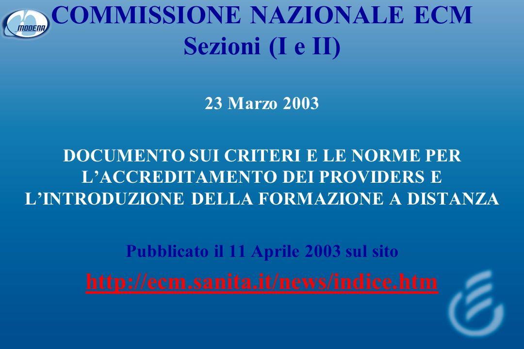 COMMISSIONE NAZIONALE ECM Sezioni (I e II) 23 Marzo 2003 DOCUMENTO SUI CRITERI E LE NORME PER LACCREDITAMENTO DEI PROVIDERS E LINTRODUZIONE DELLA FORMAZIONE A DISTANZA Pubblicato il 11 Aprile 2003 sul sito http://ecm.sanita.it/news/indice.htm