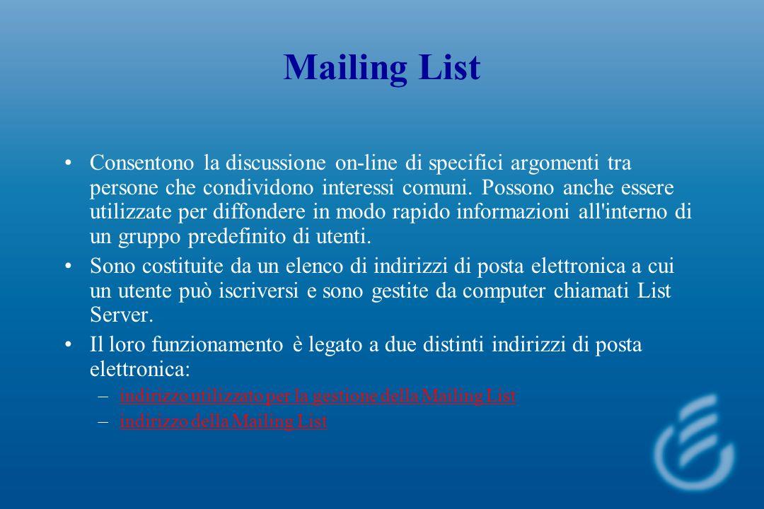 Mailing List Consentono la discussione on-line di specifici argomenti tra persone che condividono interessi comuni.