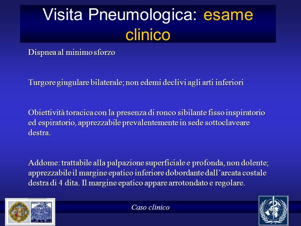 Visita Pneumologica: esame clinico Caso clinico Dispnea al minimo sforzo Turgore giugulare bilaterale; non edemi declivi agli arti inferiori Obiettivi