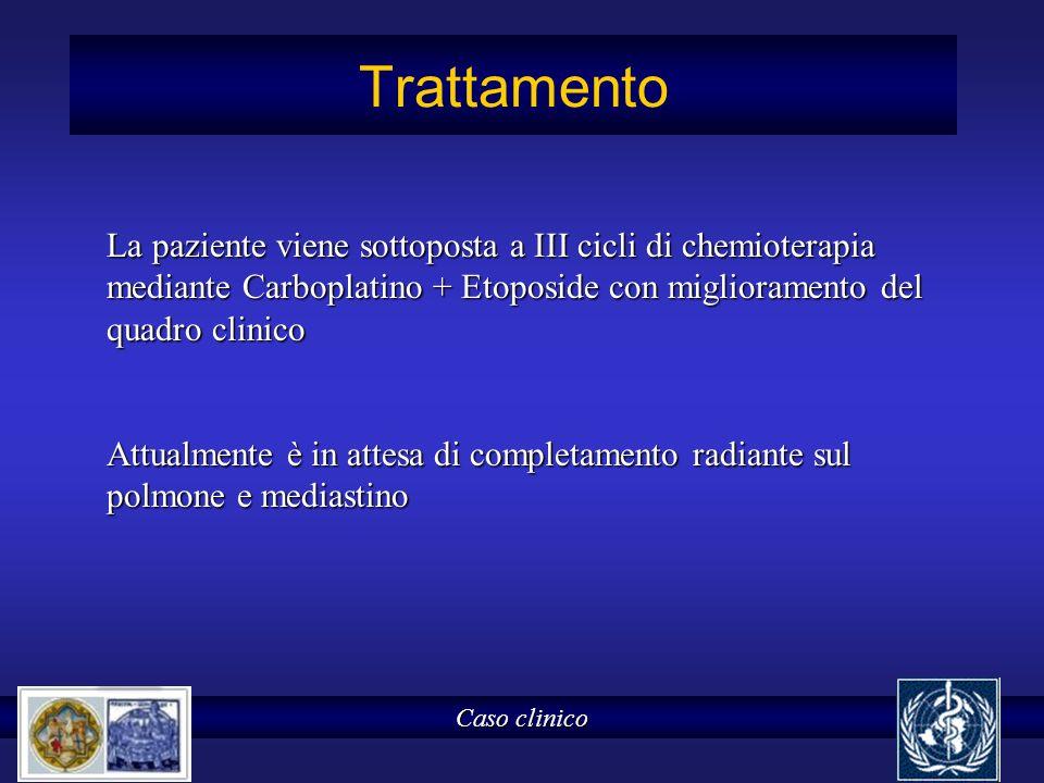 Trattamento Caso clinico La paziente viene sottoposta a III cicli di chemioterapia mediante Carboplatino + Etoposide con miglioramento del quadro clin