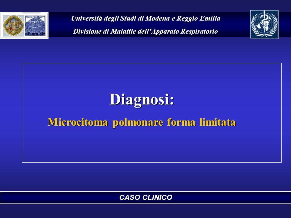 CASO CLINICO Università degli Studi di Modena e Reggio Emilia Divisione di Malattie dellApparato Respiratorio Diagnosi: Microcitoma polmonare forma li