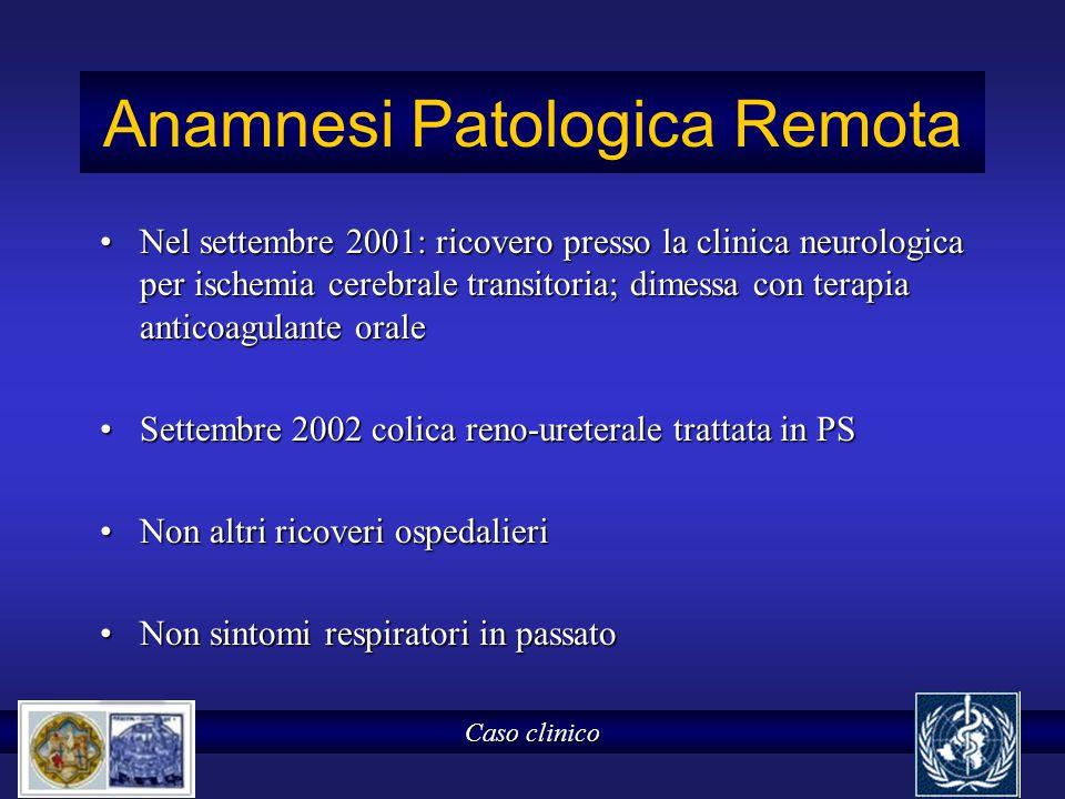Anamnesi Patologica Remota Nel settembre 2001: ricovero presso la clinica neurologica per ischemia cerebrale transitoria; dimessa con terapia anticoag
