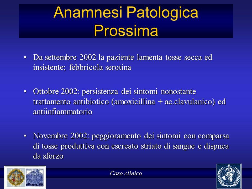 Anamnesi Patologica Prossima Da settembre 2002 la paziente lamenta tosse secca ed insistente; febbricola serotinaDa settembre 2002 la paziente lamenta