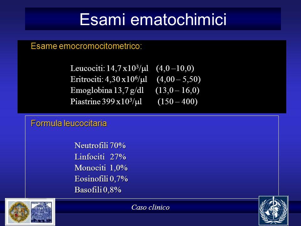 Esami ematochimici Esame emocromocitometrico: Leucociti: 14,7 x10 3 / l (4,0 –10,0) Leucociti: 14,7 x10 3 / l (4,0 –10,0) Eritrociti: 4,30 x10 6 / l (