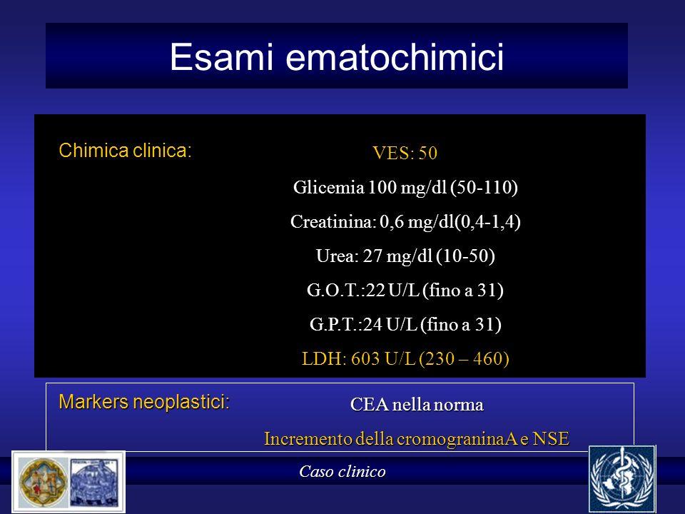 Esami ematochimici Chimica clinica: Caso clinico VES: 50 Glicemia 100 mg/dl (50-110) Creatinina: 0,6 mg/dl(0,4-1,4) Urea: 27 mg/dl (10-50) G.O.T.:22 U