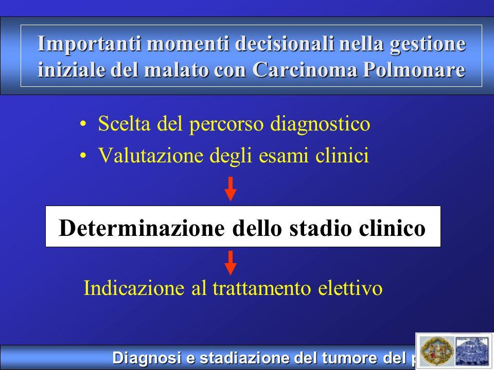 CLASSIFICAZIONE CLINICA Sistema cTNM M T N TUMORE LINFONODI METASTASI Diagnosi e stadiazione del tumore del polmone