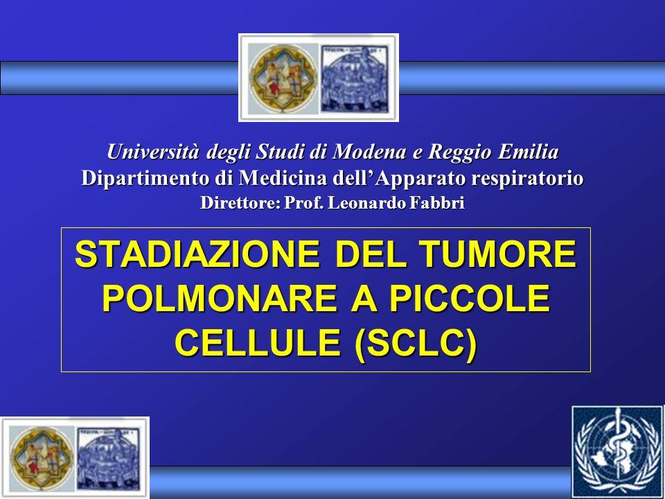 International Association Study Lung Cancer 1989 (Consensus Report) Malattia localizzata ad un solo emitorace compreso il coinvolgimento dei linfonodi ilari, mediastinici e sovraclaveari Omolaterali, con o senza la presenza di versamento Pleurico omolaterale Stadiazione Small Cell Lung Cancer Malattia Limitata