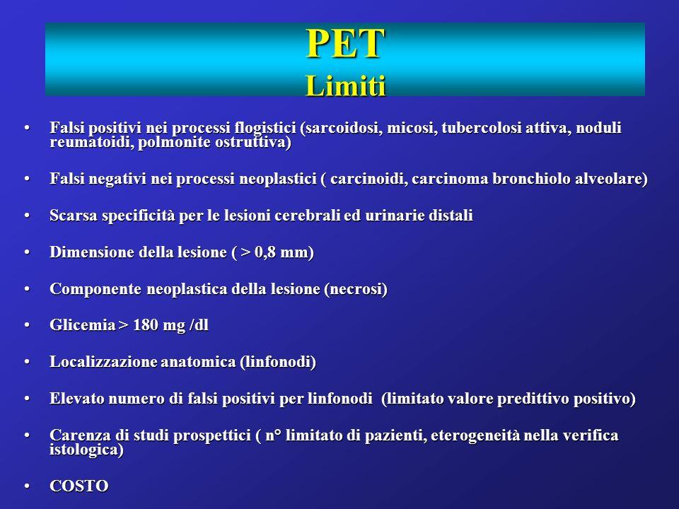 PET Limiti Falsi positivi nei processi flogistici (sarcoidosi, micosi, tubercolosi attiva, noduli reumatoidi, polmonite ostruttiva)Falsi positivi nei