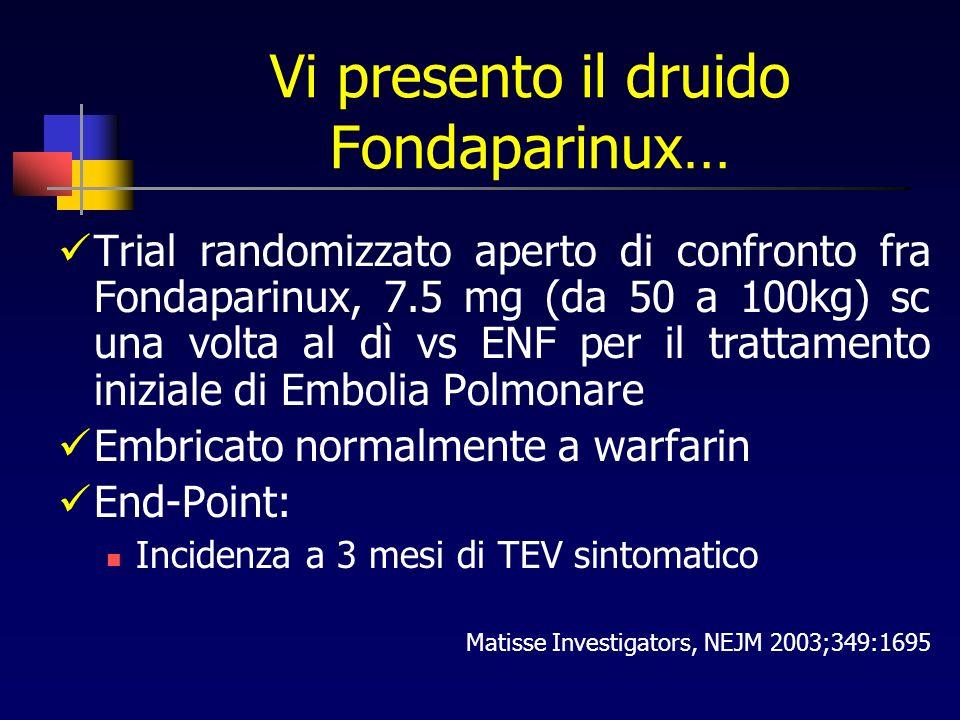 Vi presento il druido Fondaparinux… Trial randomizzato aperto di confronto fra Fondaparinux, 7.5 mg (da 50 a 100kg) sc una volta al dì vs ENF per il trattamento iniziale di Embolia Polmonare Embricato normalmente a warfarin End-Point: Incidenza a 3 mesi di TEV sintomatico Matisse Investigators, NEJM 2003;349:1695