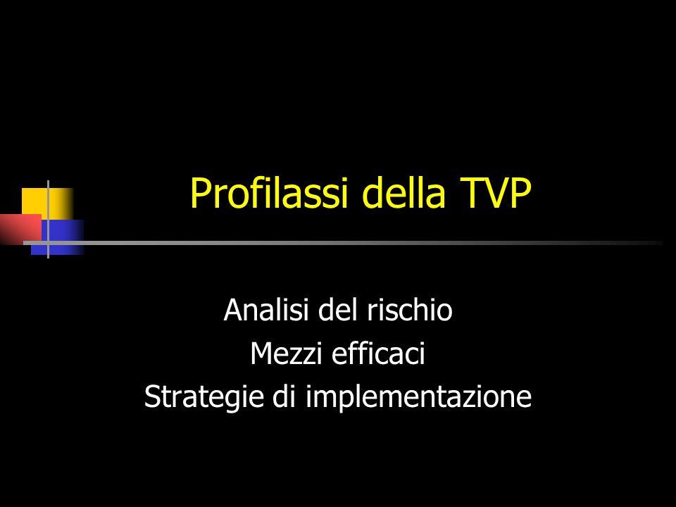 Profilassi della TVP Analisi del rischio Mezzi efficaci Strategie di implementazione