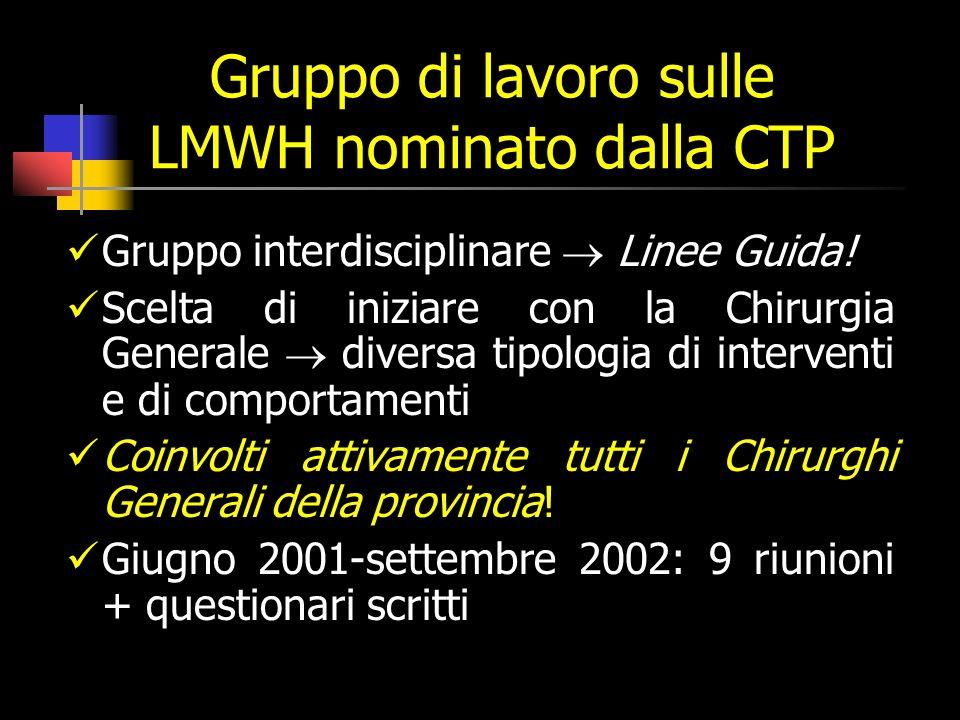 Gruppo di lavoro sulle LMWH nominato dalla CTP Gruppo interdisciplinare Linee Guida.