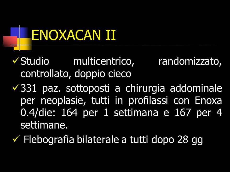 ENOXACAN II Studio multicentrico, randomizzato, controllato, doppio cieco 331 paz.