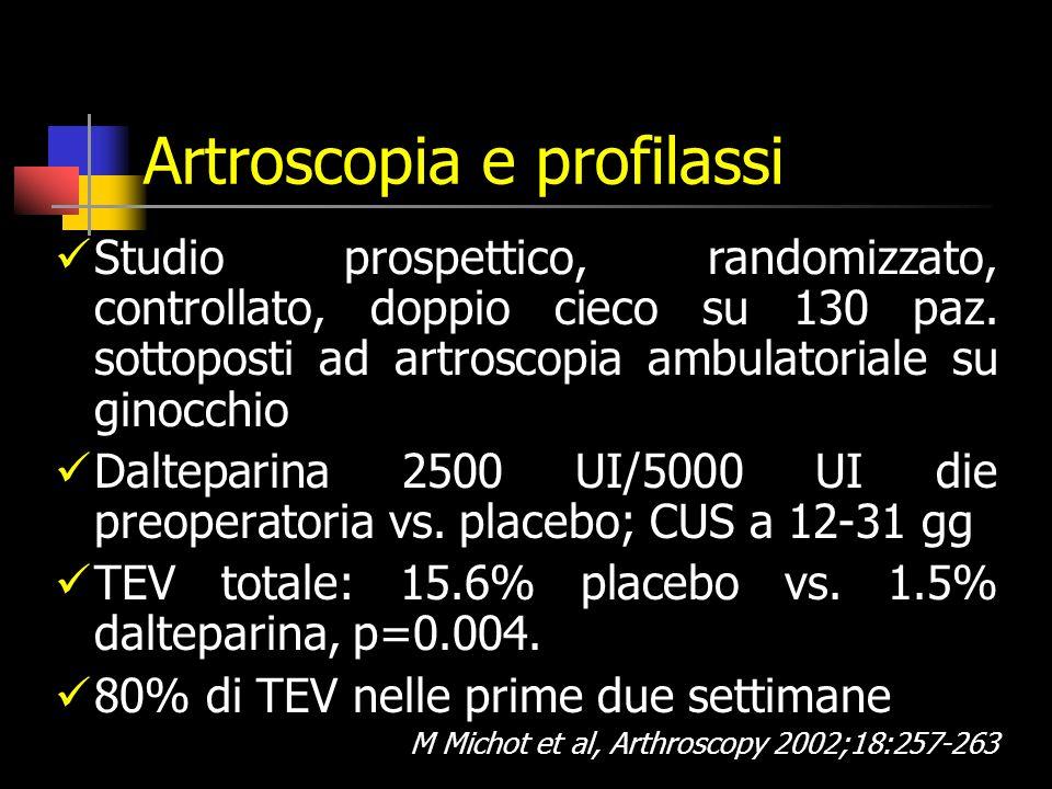 Artroscopia e profilassi Studio prospettico, randomizzato, controllato, doppio cieco su 130 paz.