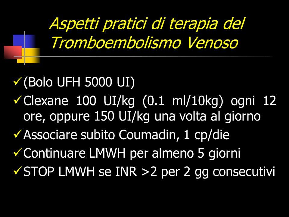 Aspetti pratici di terapia del Tromboembolismo Venoso (Bolo UFH 5000 UI) Clexane 100 UI/kg (0.1 ml/10kg) ogni 12 ore, oppure 150 UI/kg una volta al giorno Associare subito Coumadin, 1 cp/die Continuare LMWH per almeno 5 giorni STOP LMWH se INR >2 per 2 gg consecutivi