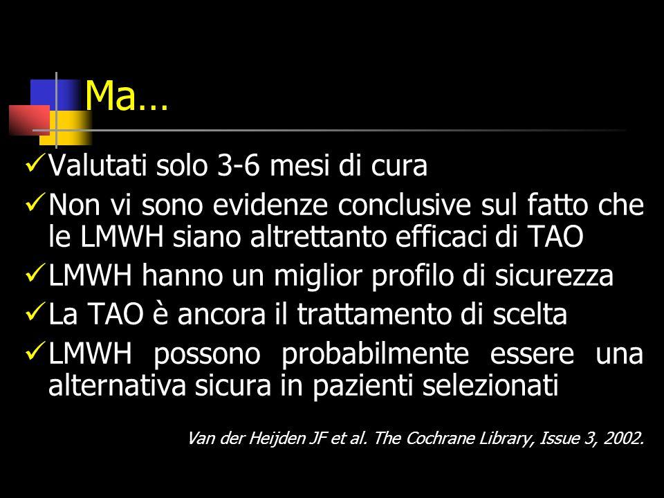 Ma… Valutati solo 3-6 mesi di cura Non vi sono evidenze conclusive sul fatto che le LMWH siano altrettanto efficaci di TAO LMWH hanno un miglior profilo di sicurezza La TAO è ancora il trattamento di scelta LMWH possono probabilmente essere una alternativa sicura in pazienti selezionati Van der Heijden JF et al.