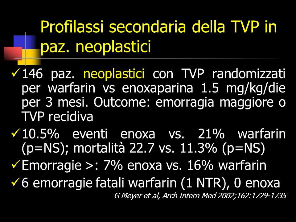 Profilassi secondaria della TVP in paz.neoplastici 146 paz.