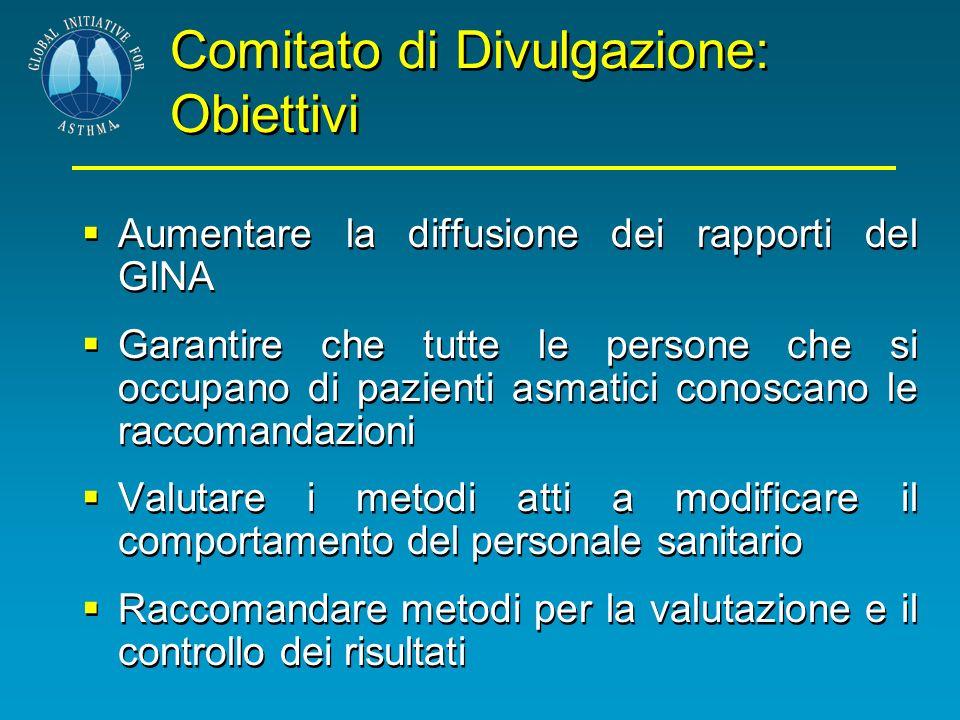 Comitato di Divulgazione: Obiettivi Aumentare la diffusione dei rapporti del GINA Garantire che tutte le persone che si occupano di pazienti asmatici