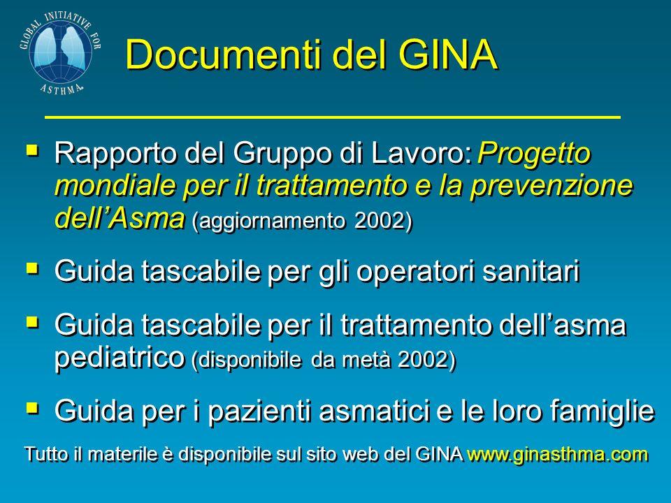 Documenti del GINA Rapporto del Gruppo di Lavoro: Progetto mondiale per il trattamento e la prevenzione dellAsma (aggiornamento 2002) Guida tascabile