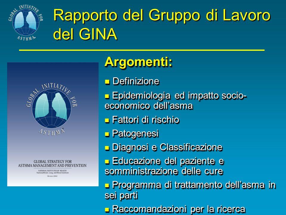Rapporto del Gruppo di Lavoro del GINA Argomenti: Definizione Definizione Epidemiologia ed impatto socio- economico dellasma Epidemiologia ed impatto