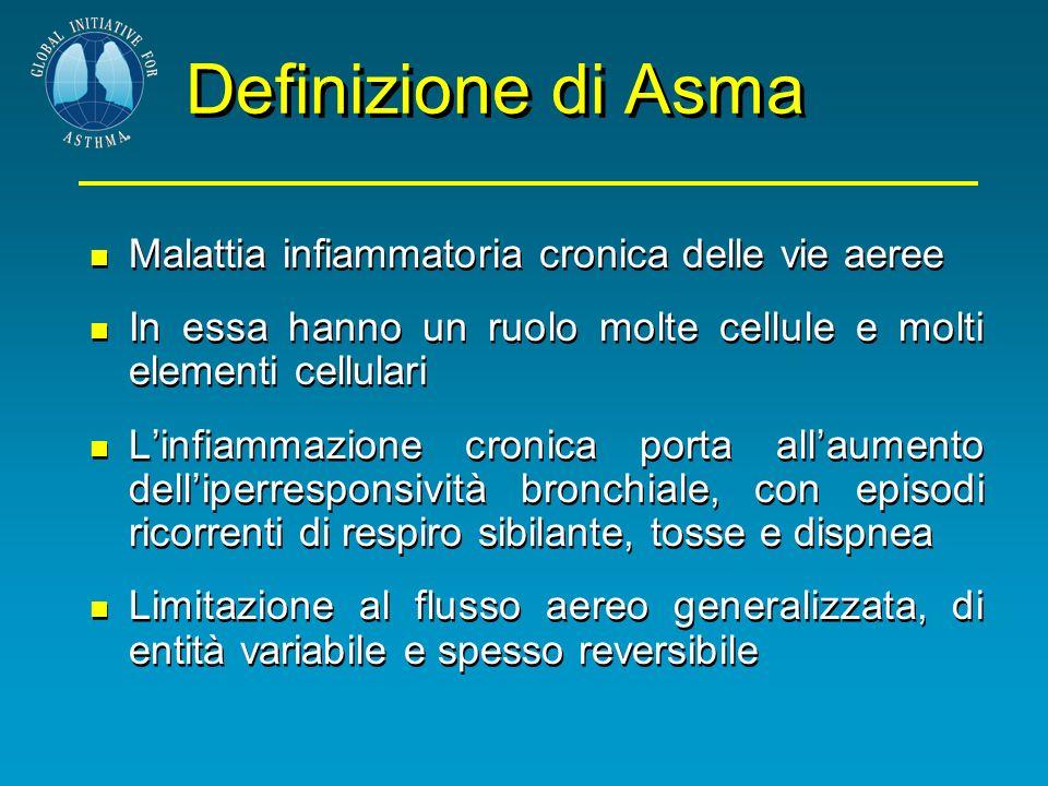 Definizione di Asma Malattia infiammatoria cronica delle vie aeree In essa hanno un ruolo molte cellule e molti elementi cellulari Linfiammazione cron