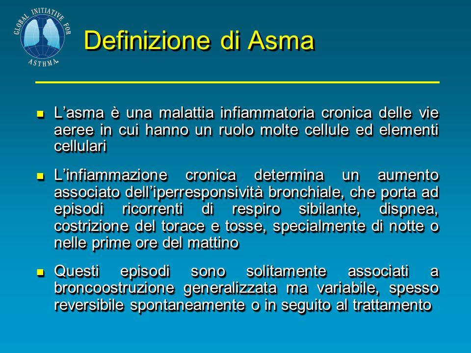 Definizione di Asma Lasma è una malattia infiammatoria cronica delle vie aeree in cui hanno un ruolo molte cellule ed elementi cellulari Lasma è una m