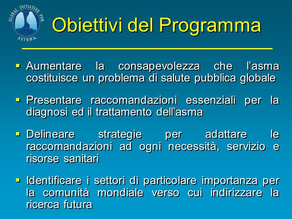 Obiettivi del Programma Aumentare la consapevolezza che lasma costituisce un problema di salute pubblica globale Presentare raccomandazioni essenziali