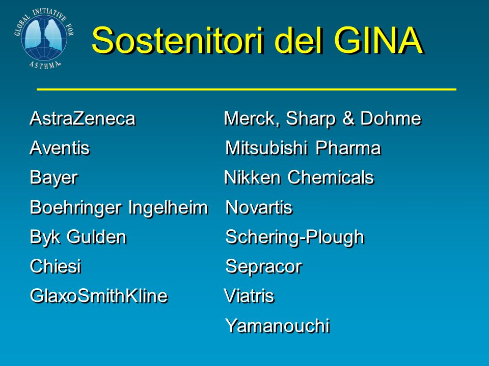 Sostenitori del GINA AstraZeneca Merck, Sharp & Dohme Aventis Mitsubishi Pharma Bayer Nikken Chemicals Boehringer Ingelheim Novartis Byk GuldenScherin
