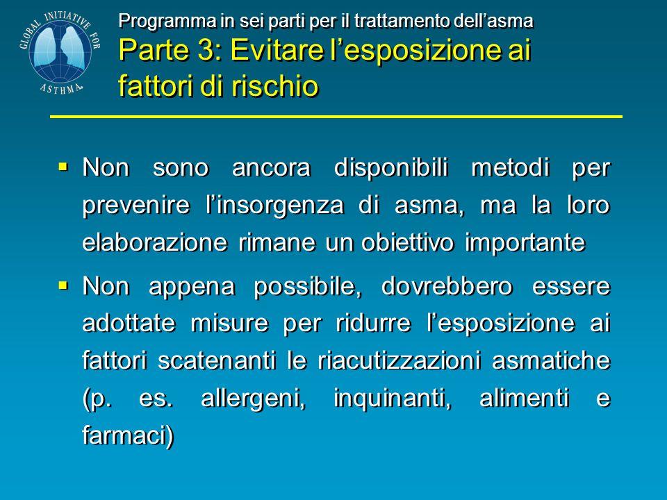 Programma in sei parti per il trattamento dellasma Parte 3: Evitare lesposizione ai fattori di rischio Non sono ancora disponibili metodi per prevenir