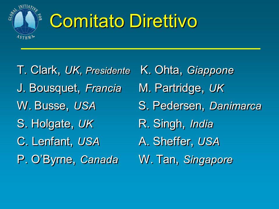 Comitato Direttivo T. Clark, UK, Presidente K. Ohta, Giappone J. Bousquet, Francia M. Partridge, UK W. Busse, USA S. Pedersen, Danimarca S. Holgate, U