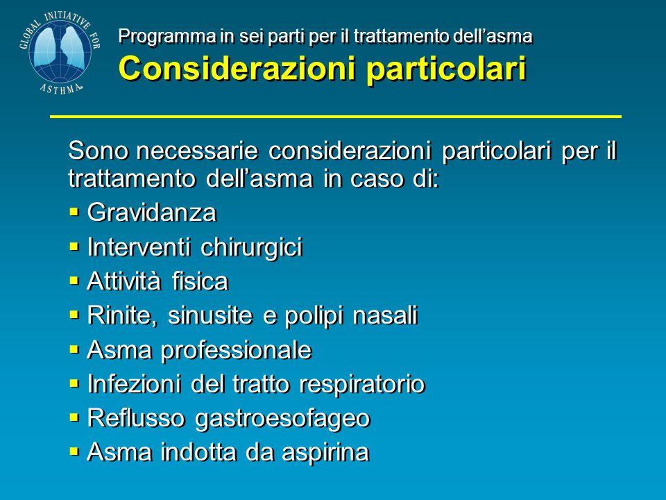 Programma in sei parti per il trattamento dellasma Considerazioni particolari Sono necessarie considerazioni particolari per il trattamento dellasma i