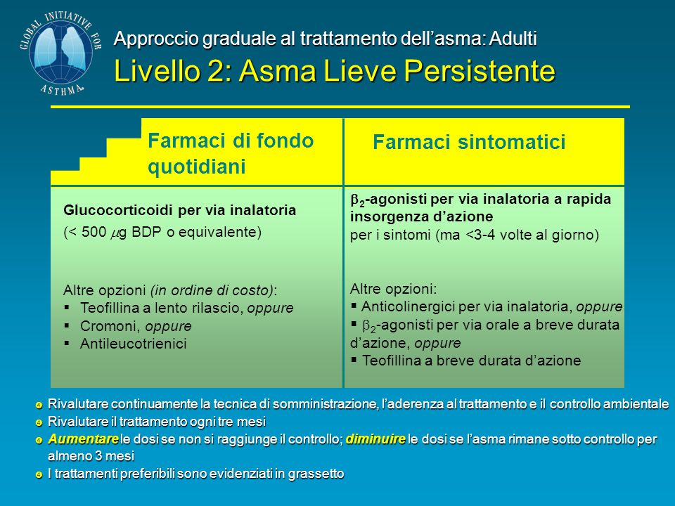 Glucocorticoidi per via inalatoria (< 500 g BDP o equivalente) Altre opzioni (in ordine di costo): Teofillina a lento rilascio, oppure Cromoni, oppure