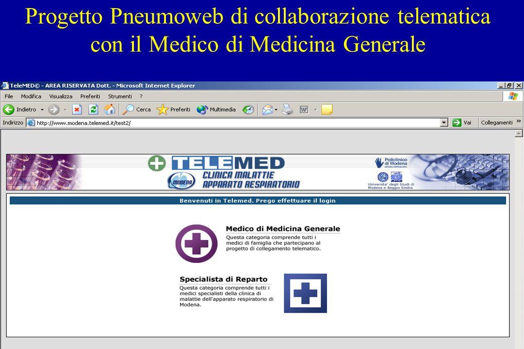 Progetto Pneumoweb di collaborazione telematica con il Medico di Medicina Generale