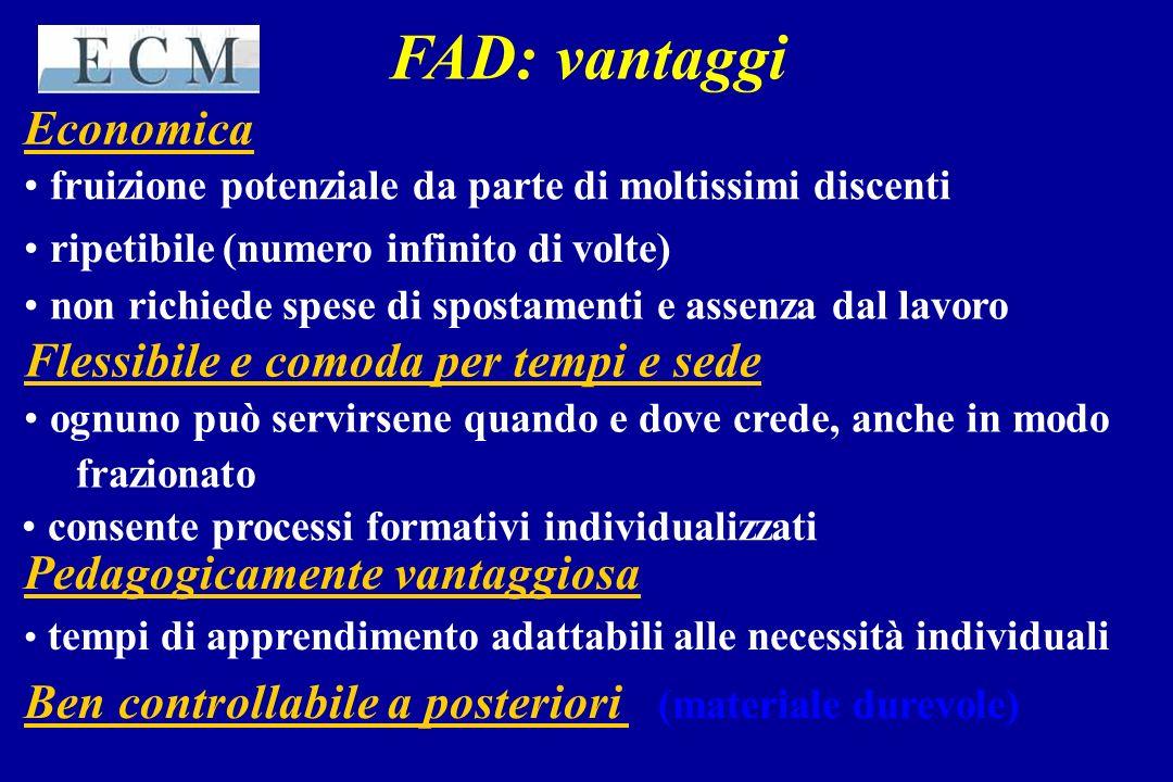 FAD: vantaggi Economica fruizione potenziale da parte di moltissimi discenti ripetibile (numero infinito di volte) non richiede spese di spostamenti e
