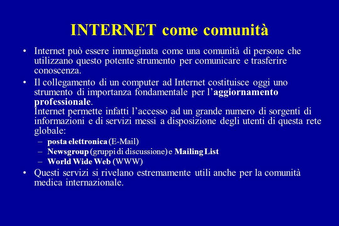 INTERNET come comunità Internet può essere immaginata come una comunità di persone che utilizzano questo potente strumento per comunicare e trasferire