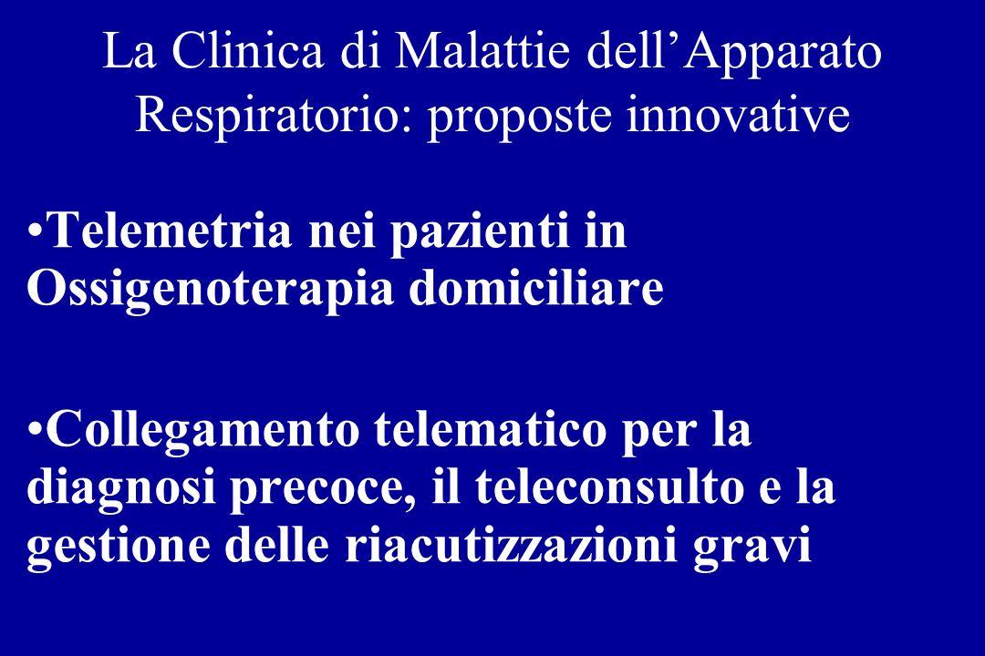 La Clinica di Malattie dellApparato Respiratorio: proposte innovative Telemetria nei pazienti in Ossigenoterapia domiciliare Collegamento telematico p
